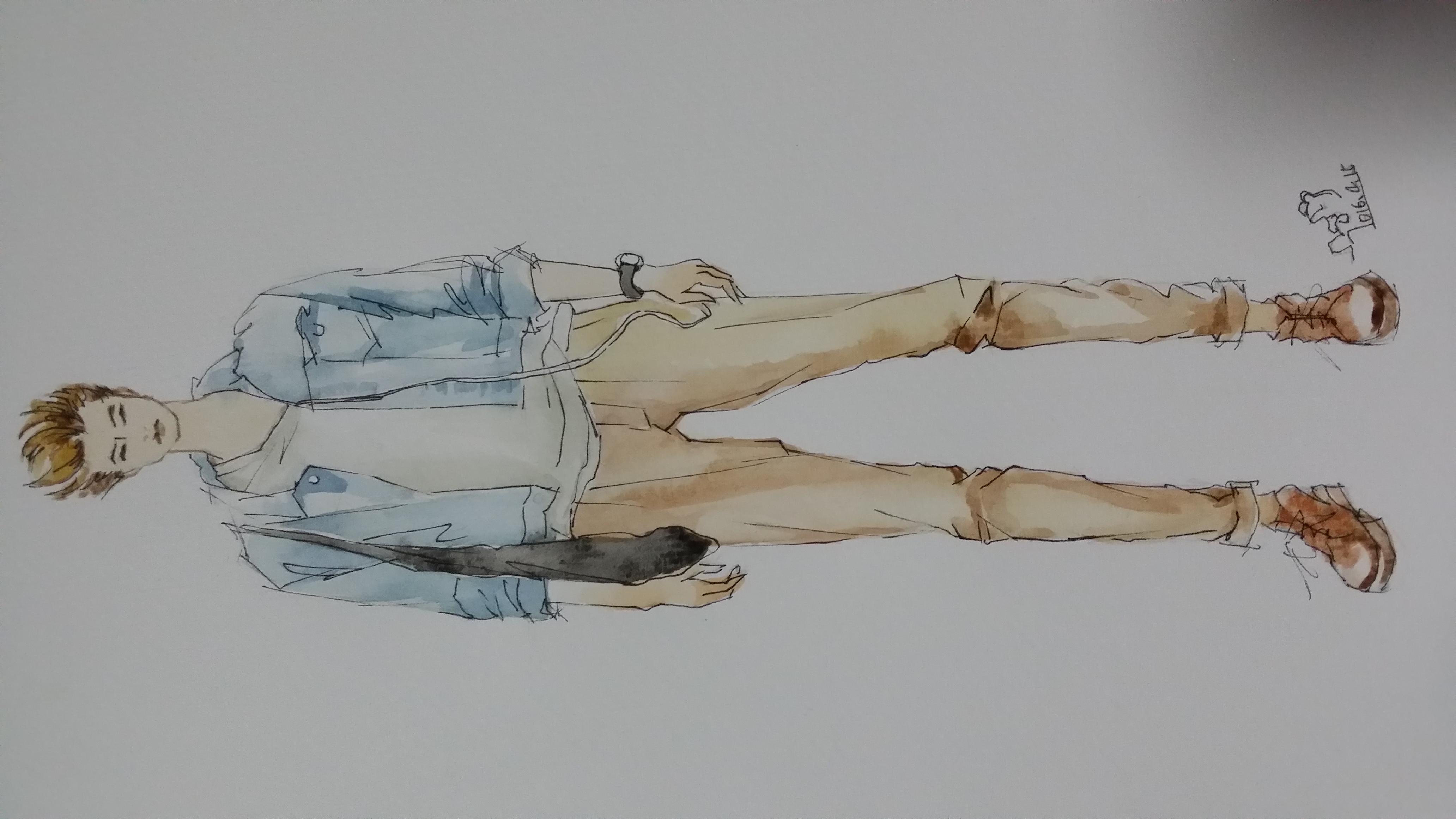 手绘时装插画(男装夏季搭配)|服装|休闲/流行服饰|箐