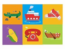 儿童插画  认知识物卡牌