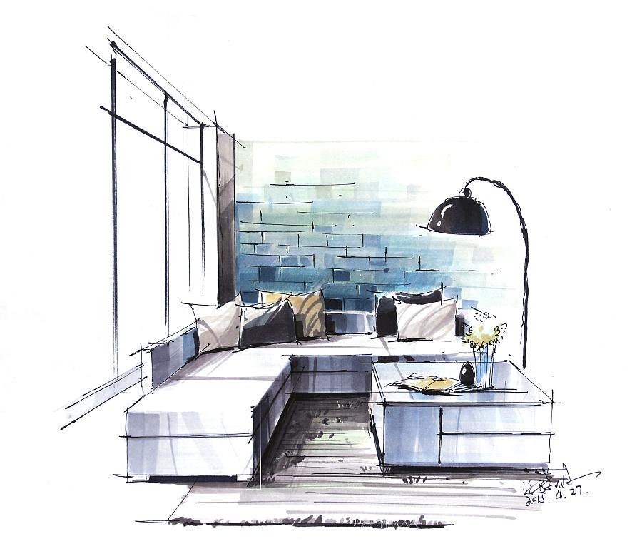 沙发设计手绘图马克笔