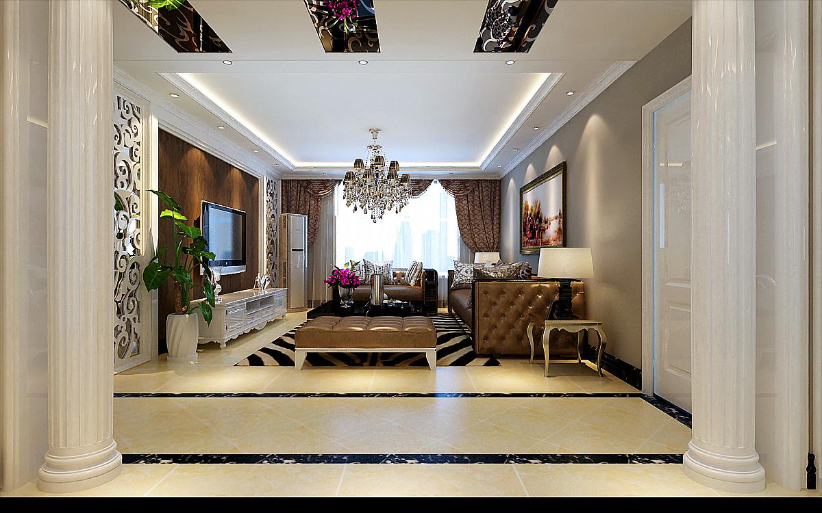 客厅餐厅之间的垭口,两边是两根漂亮的白色罗马柱.