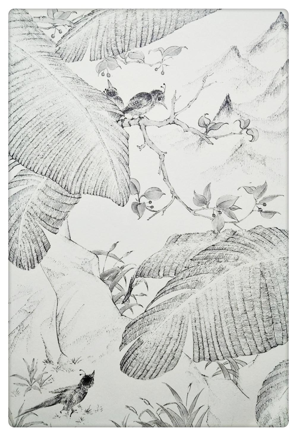 黑白线描风景插画