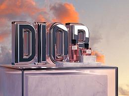 C4D立体字练习 - DIOR Fragrance