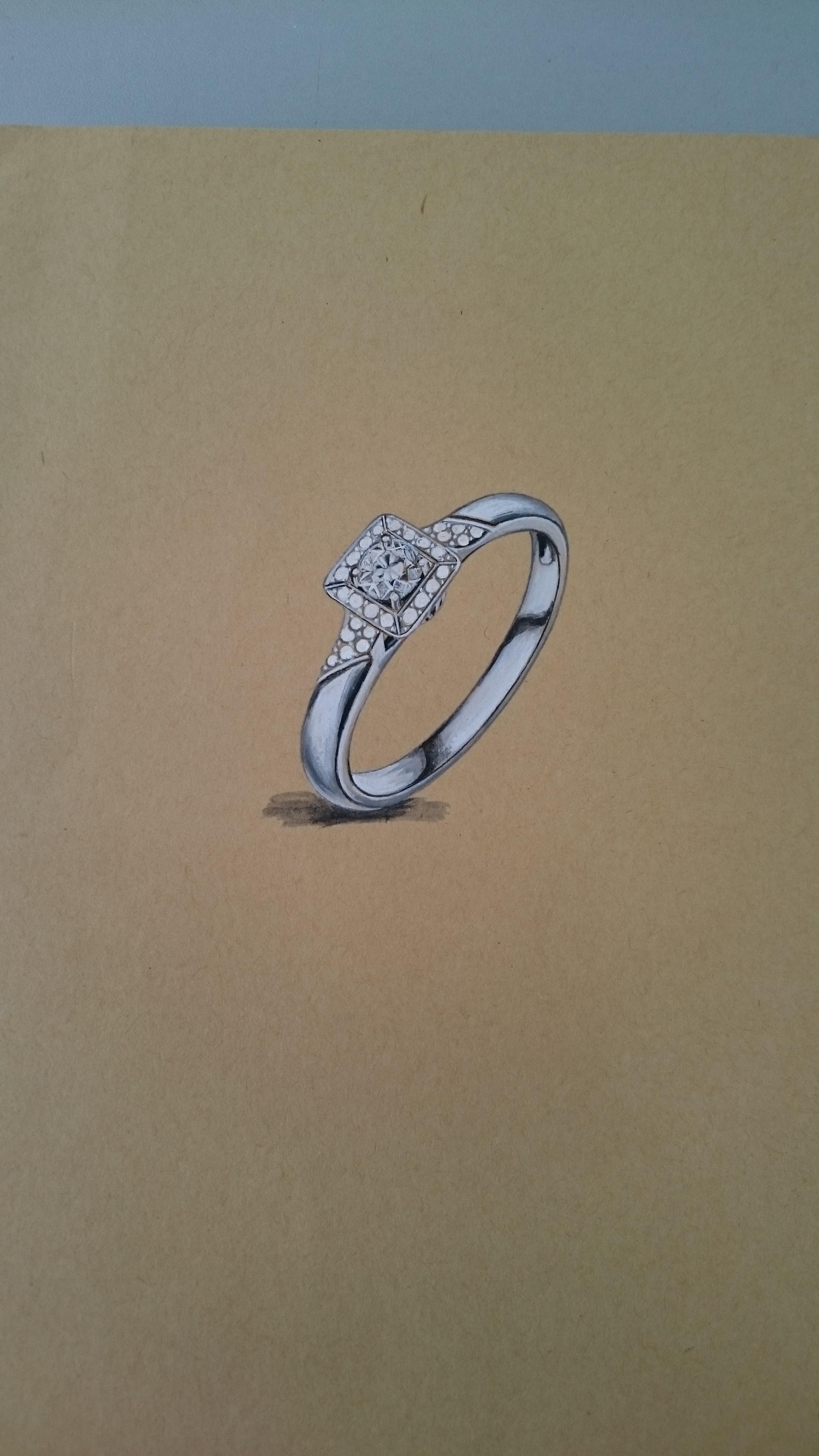 手绘钻石戒指