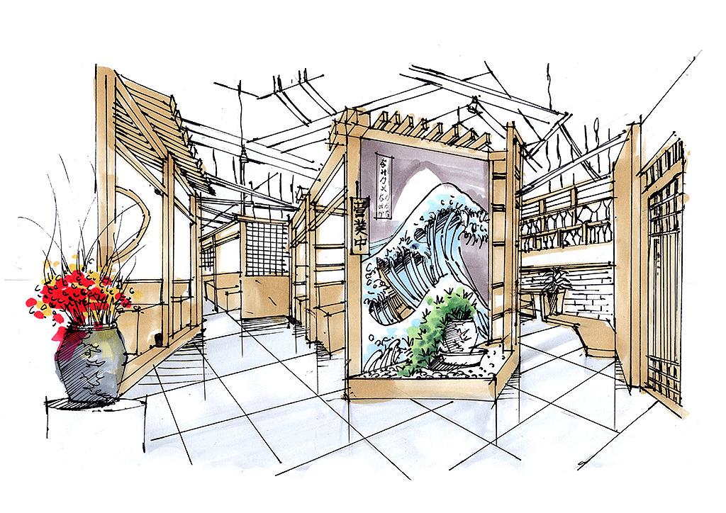 室内手绘餐饮空间实景照片写生云南昆明手绘培训手绘视频 天津北京