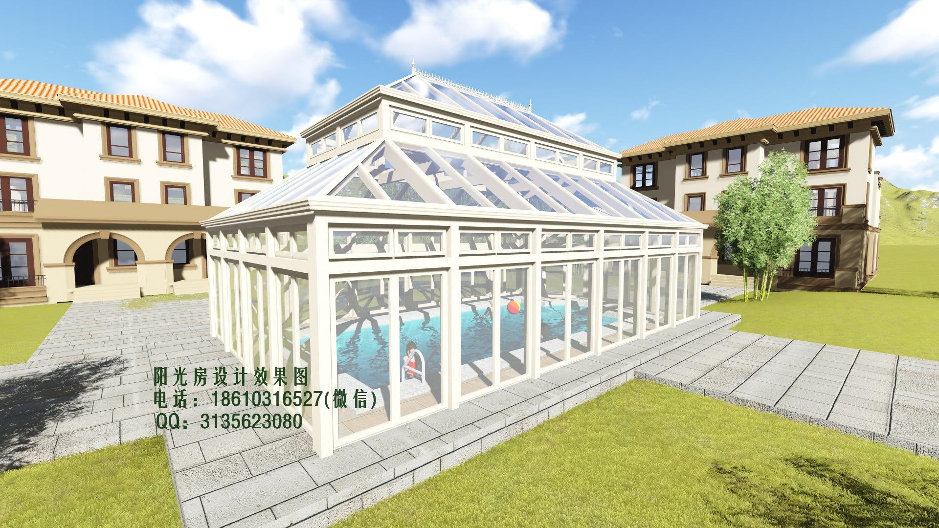游泳池阳光房设计效果图|空间|建筑设计|花园阳光房图片