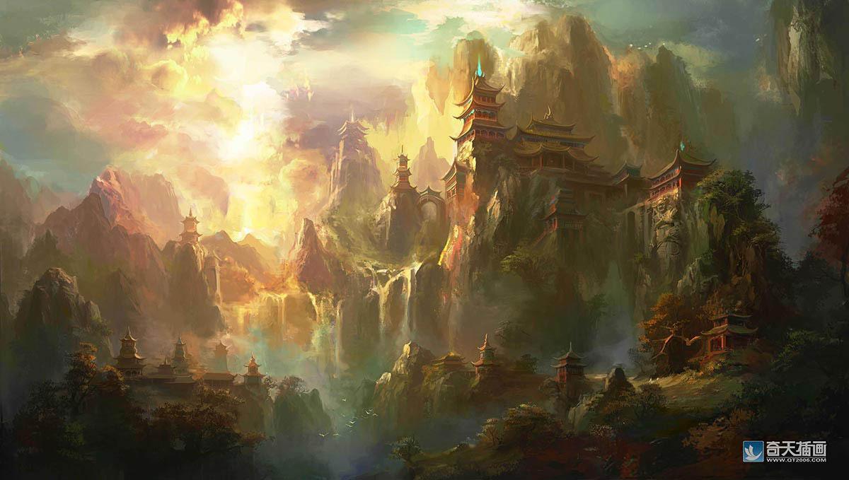 游戏场景原画,古风建筑天河殿