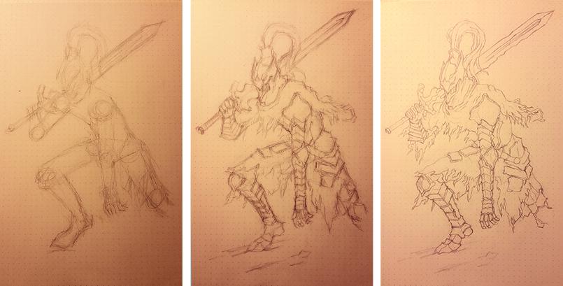铅笔手绘人物_黑暗之魂_狼骑士