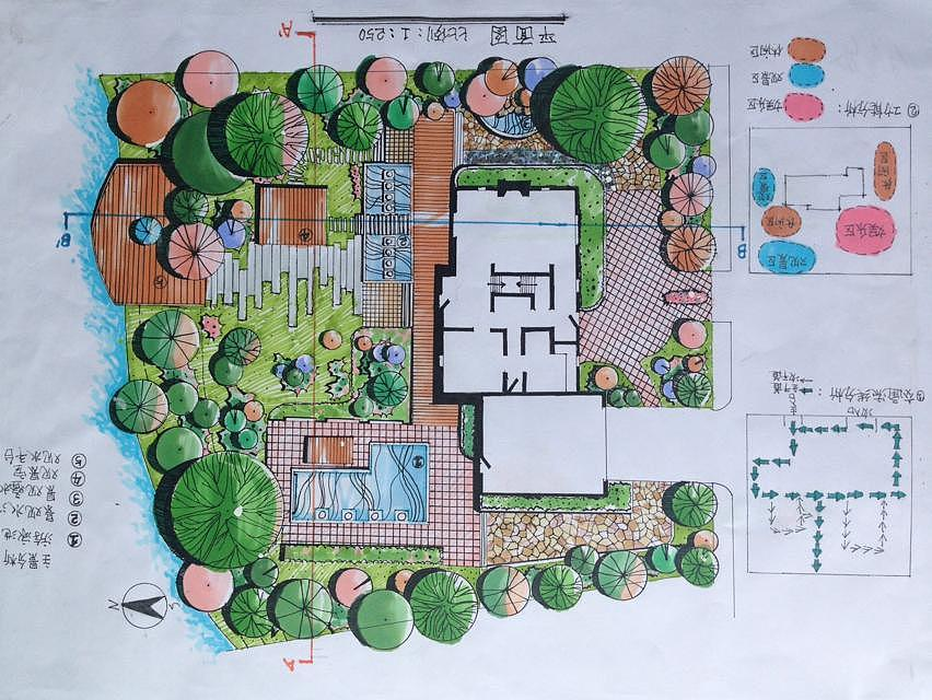 别墅花园平面手绘|空间|景观设计|我叫安 - 原创作品