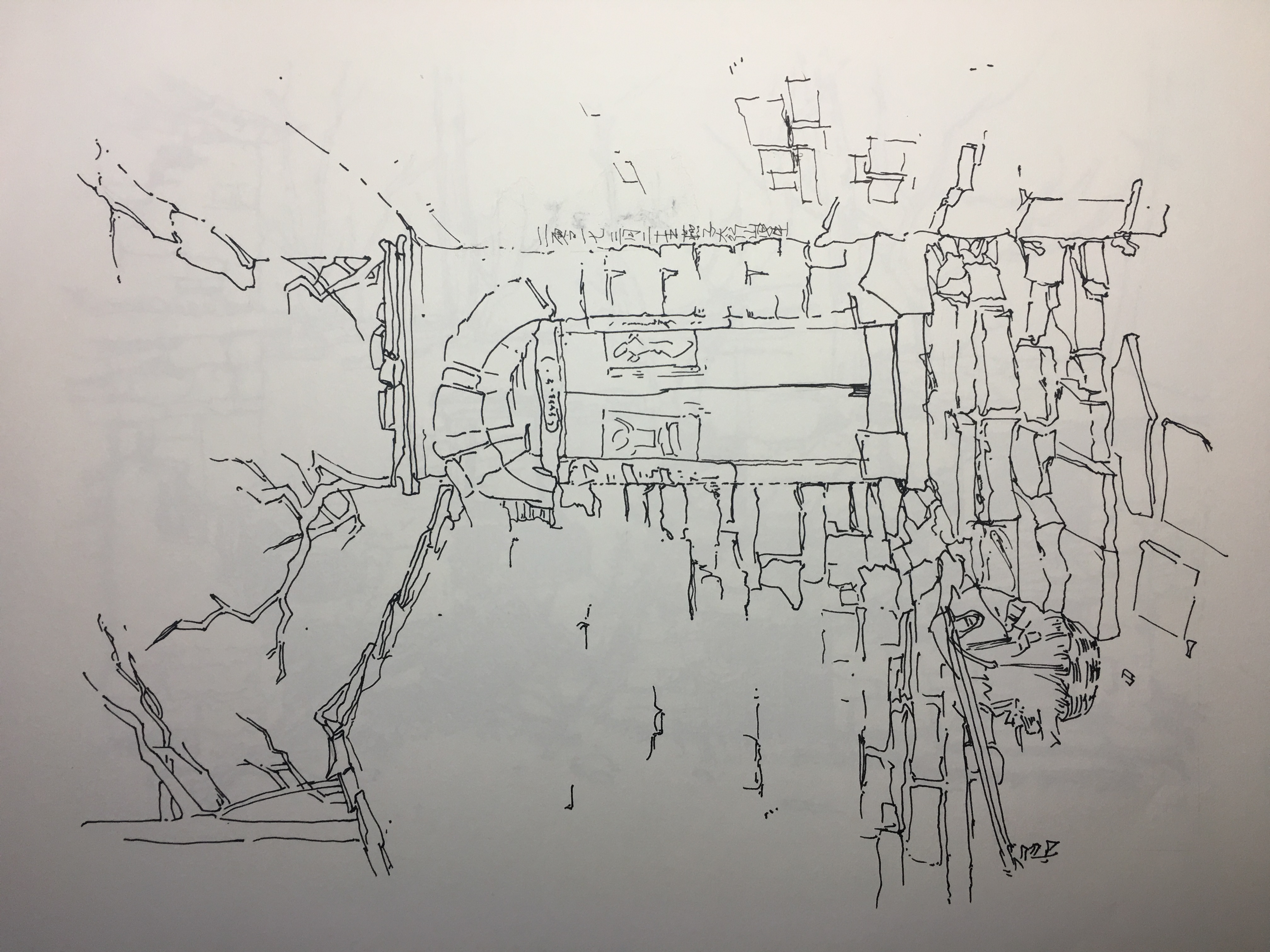 河南太行山写生期间画作,钢笔手绘画作.