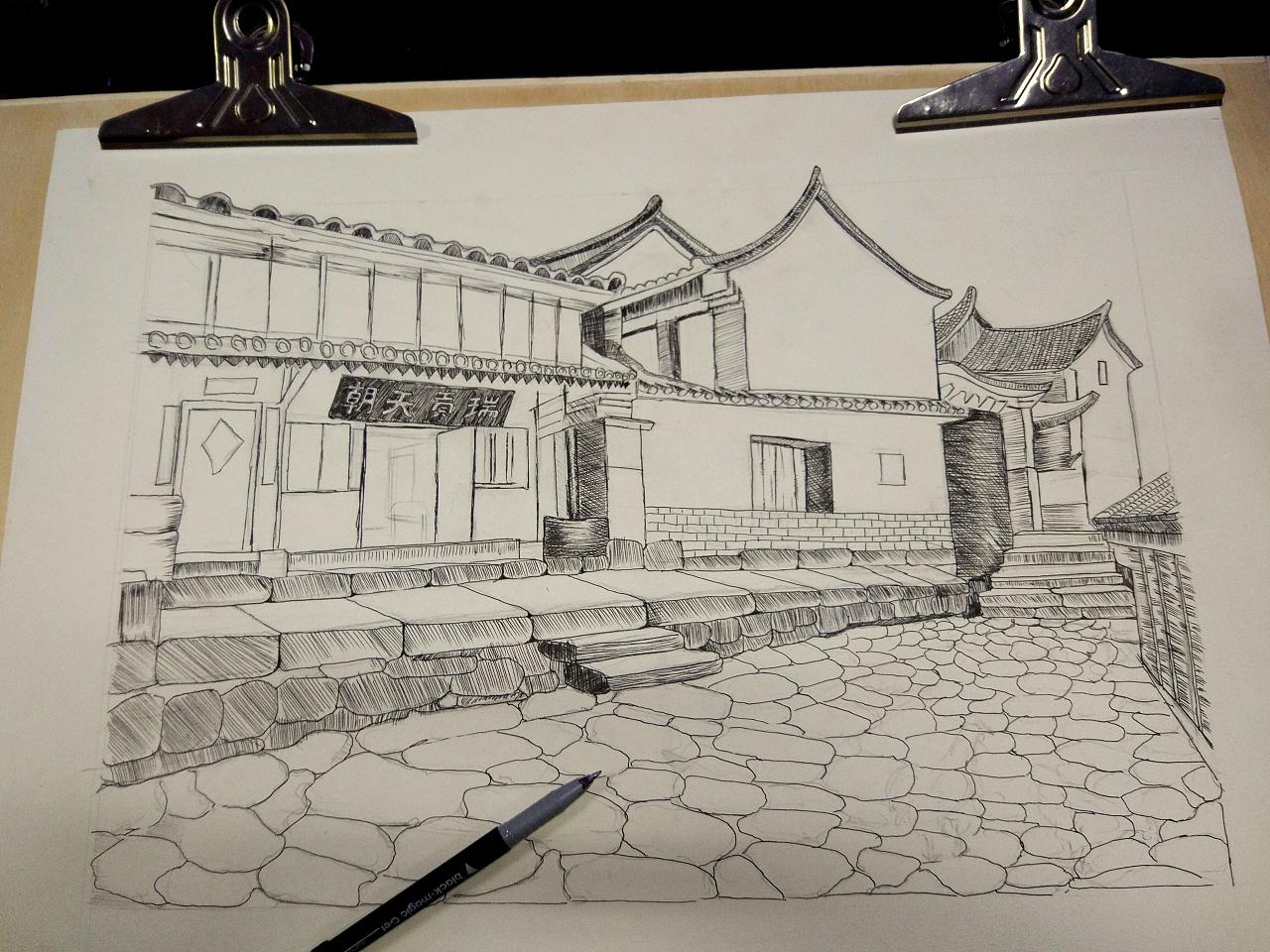 手绘画之易武古镇