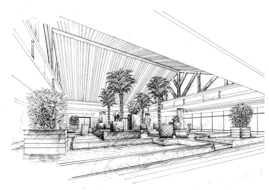 酒店大堂三|室内设计|空间/建筑|mhc绘