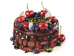 【驴大萌彩铅教程335】手绘美食甜品 巧克力裸蛋糕