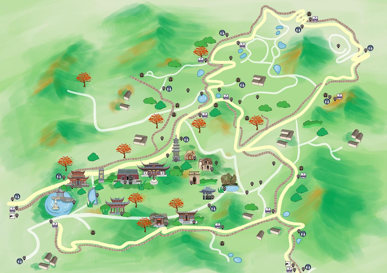 h5智慧旅游电子语音导航全域景区学校手绘地图定制设计