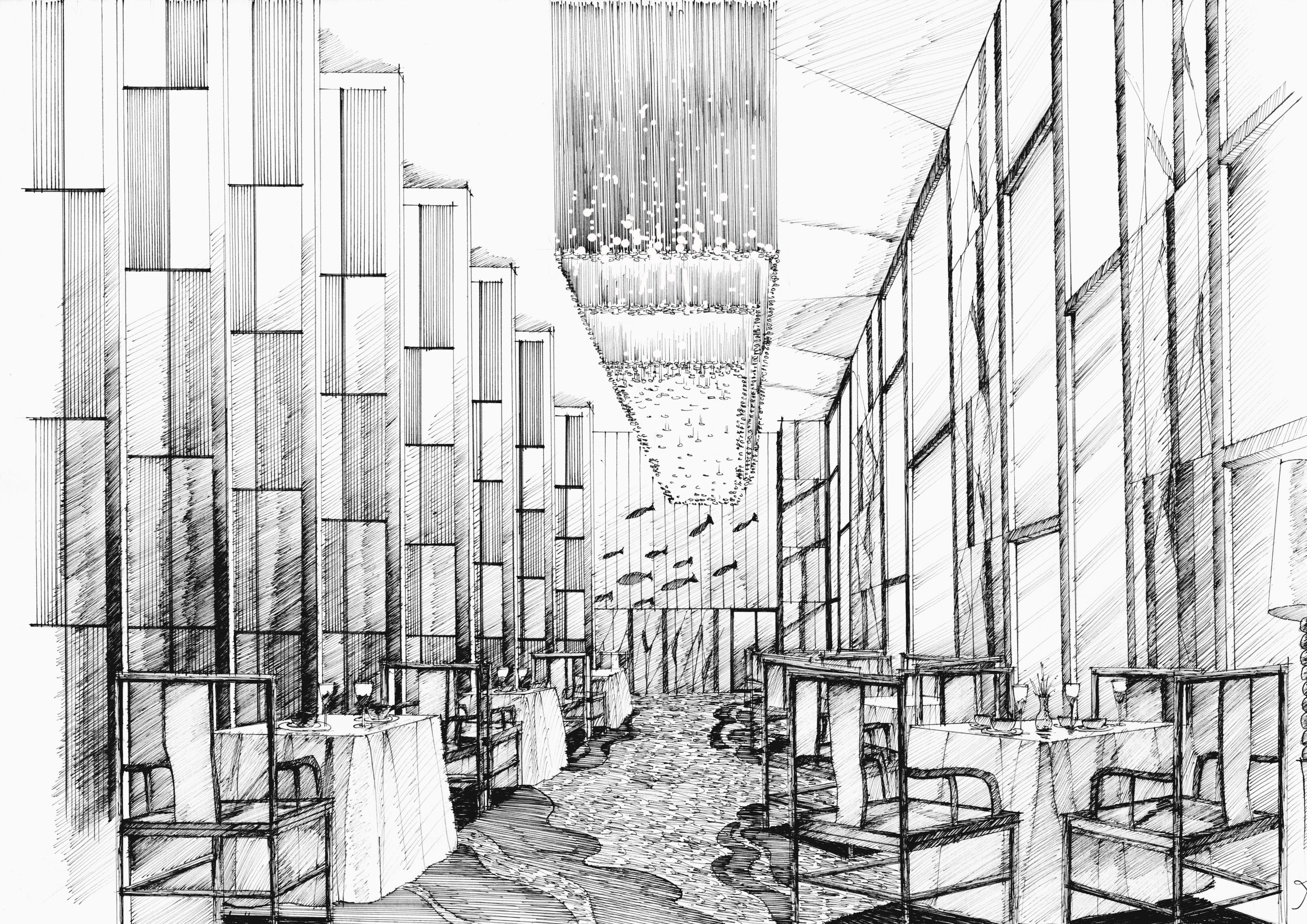 酒店餐厅手绘2|空间|室内设计|mhc绘 - 原创作品