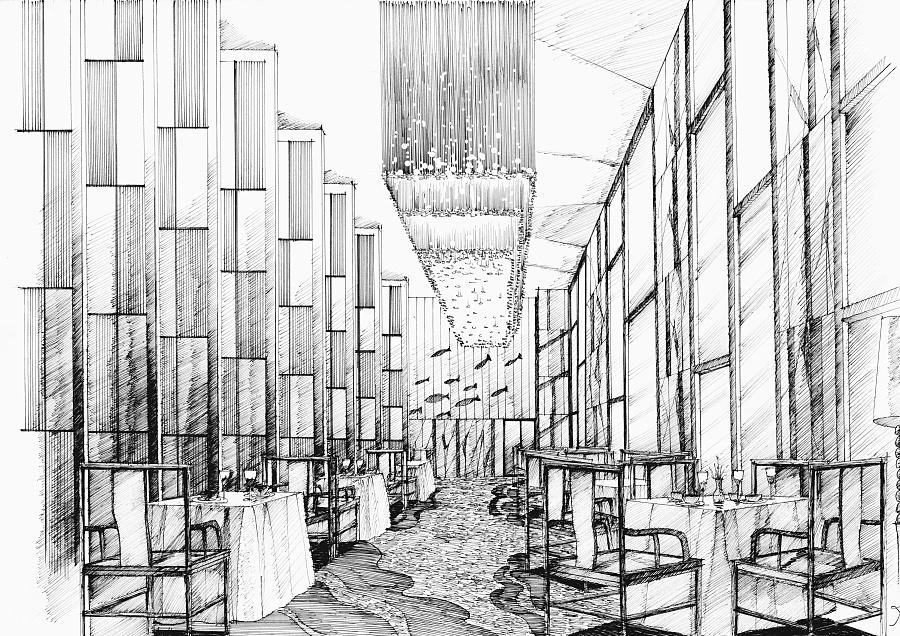 酒店餐厅手绘2|室内设计|空间/建筑|mhc绘