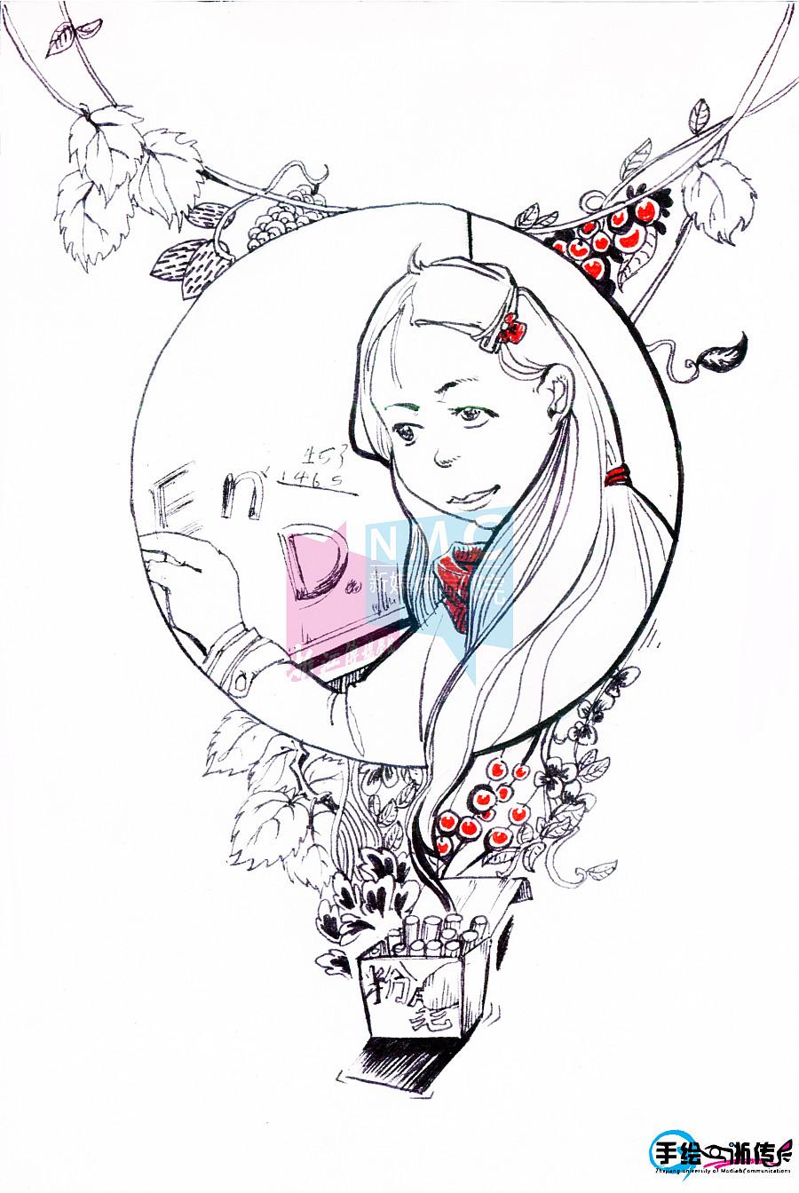 新媒体手绘浙传明信片(新媒体学院成立五周年纪念款)