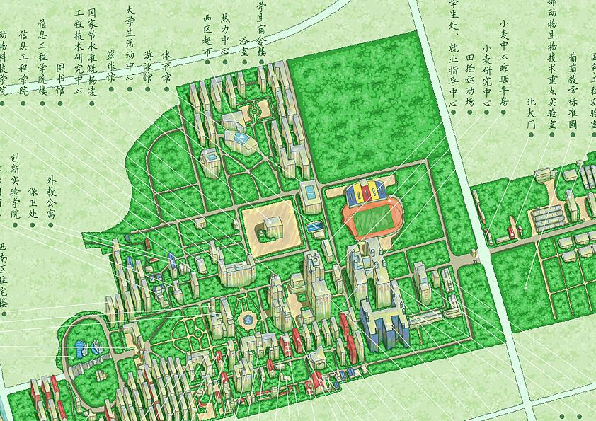 西北农林科技大学手绘地图