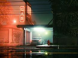 Fog Station At Night