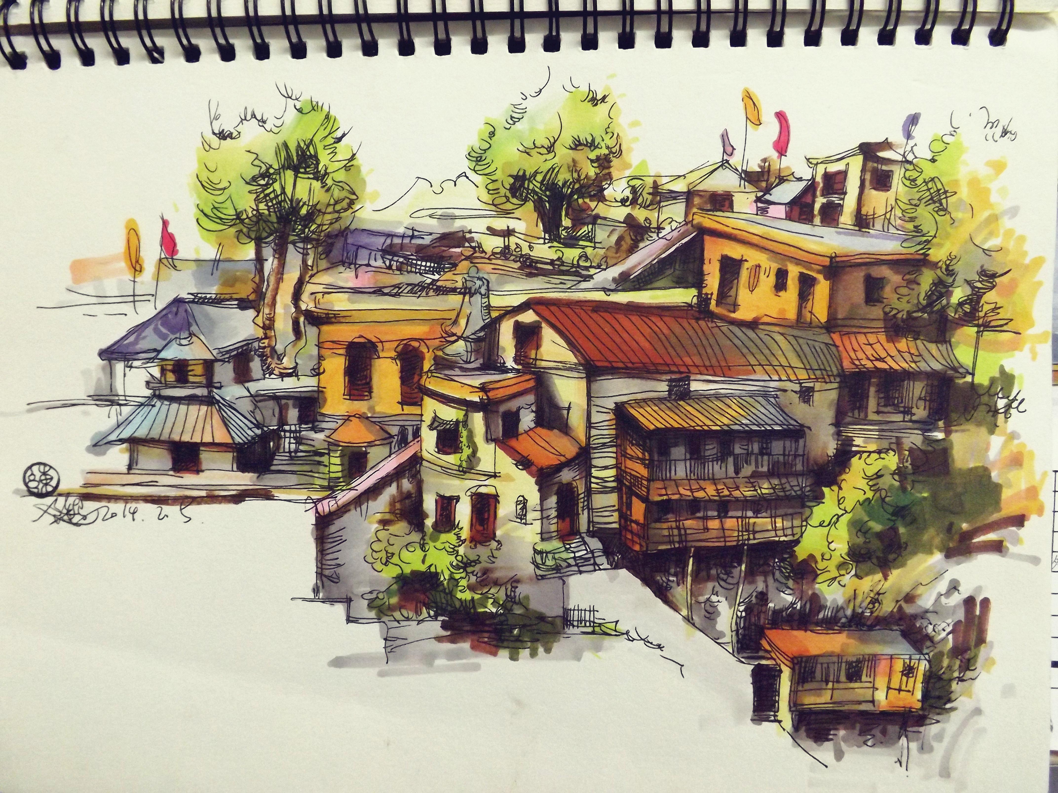 建筑手绘|纯艺术|速写|colorful彩铅时代 - 原创作品