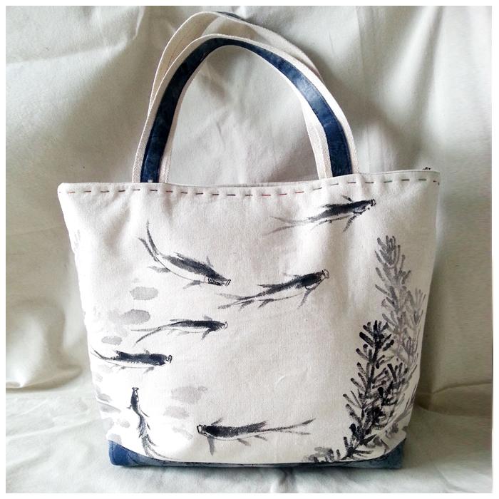 纯棉帆布手绘大包包
