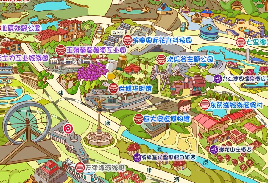 原创作品:天津旅游手绘地图