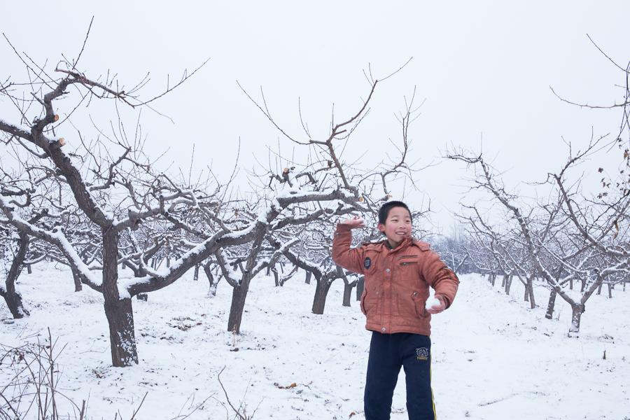 农村打扫雪-乡村雪景图片