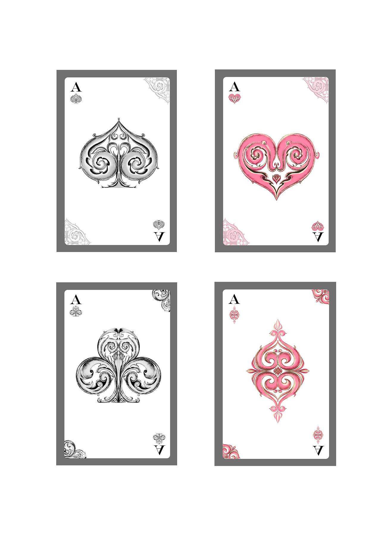 手绘植物花纹的元素设计的扑克牌纹样.