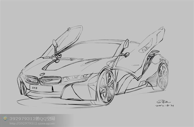 三石手绘,工业手绘,汽车手绘,马克笔手绘,手绘表现.汽车手绘线稿.