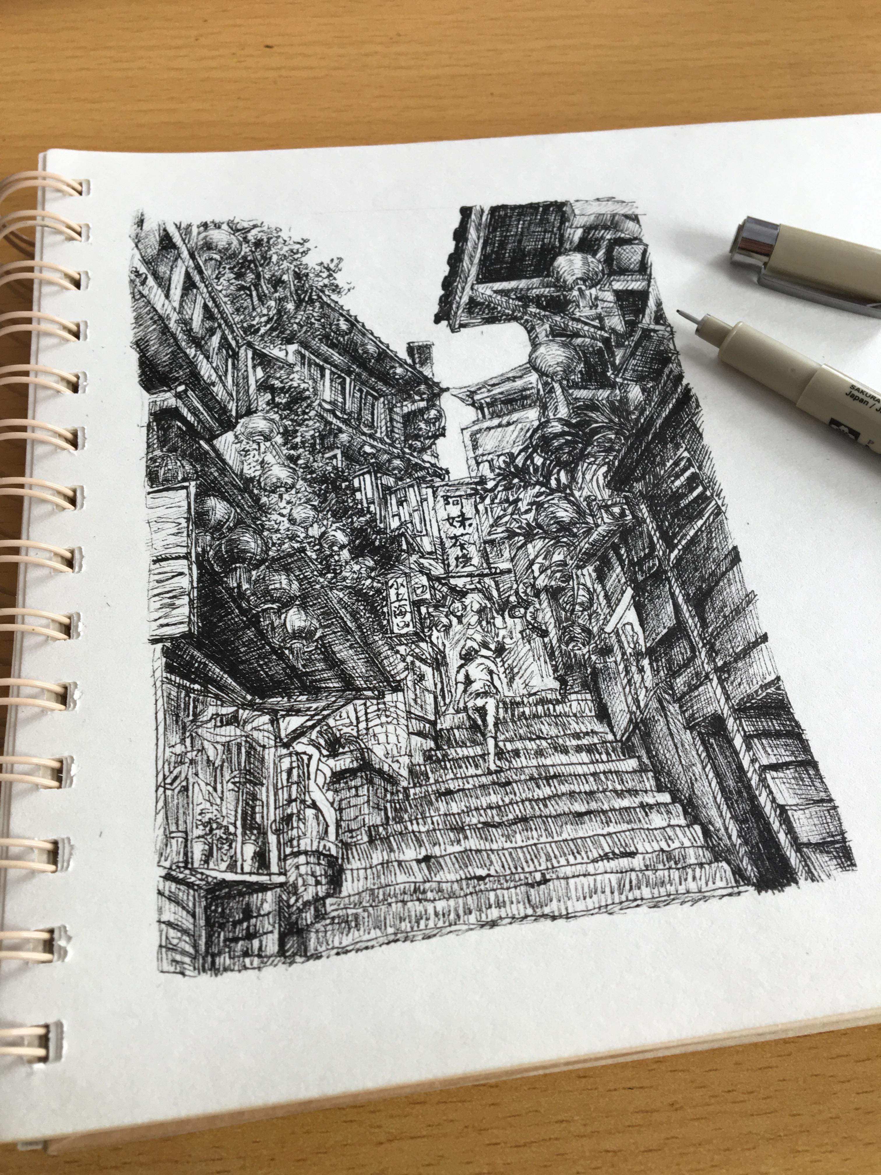 风景线描图片