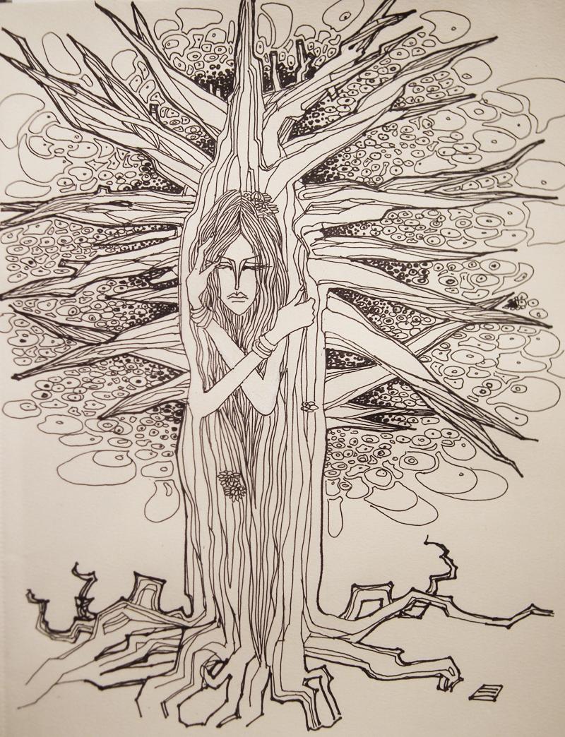 黑白插画《树孤》