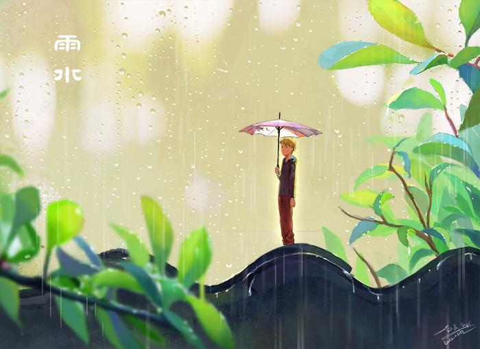 雨水节气简笔画-雨水