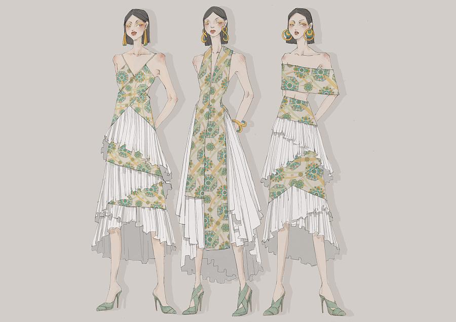 梵花飞天|礼服设计效果图图片