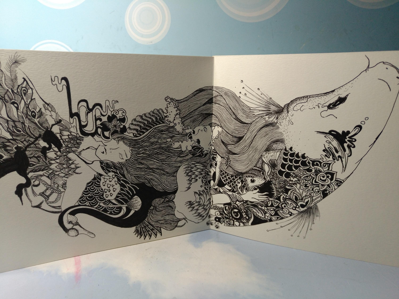 升鱼——手绘 黑白 中国风 纹身 鱼