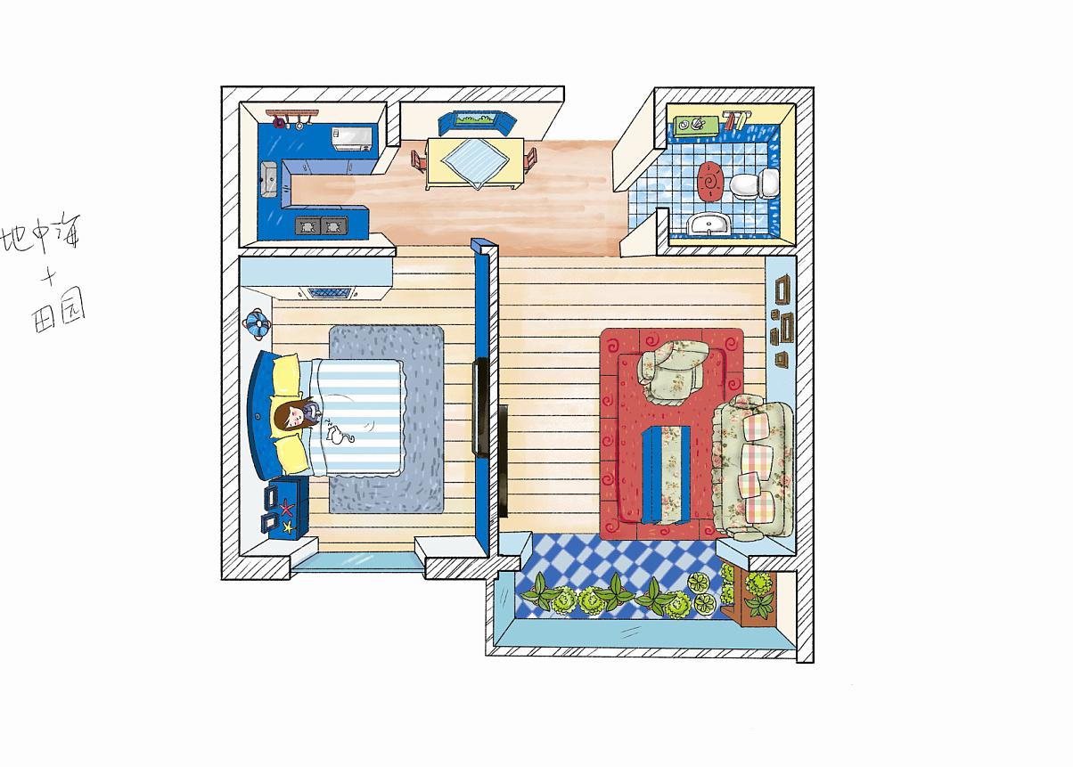 手绘女孩风格户型图房间空间