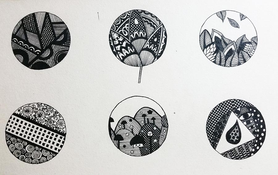 圆形黑白画创作