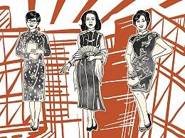 《龙在江湖》民国版画风格墙画