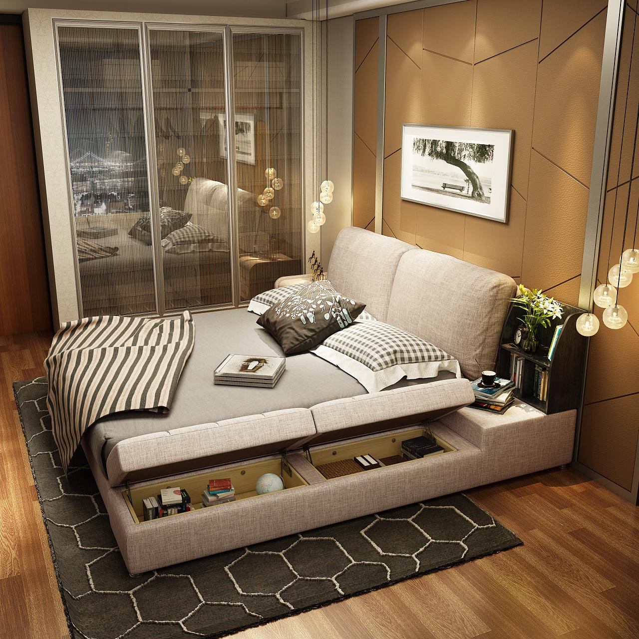 舒适榻榻米风格布艺床设计图片