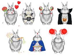 仿手绘效果兔子