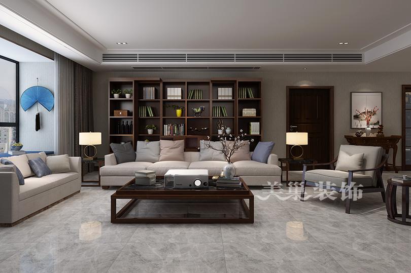 郑州尚书苑240平四室两厅新中式案例装修效果图