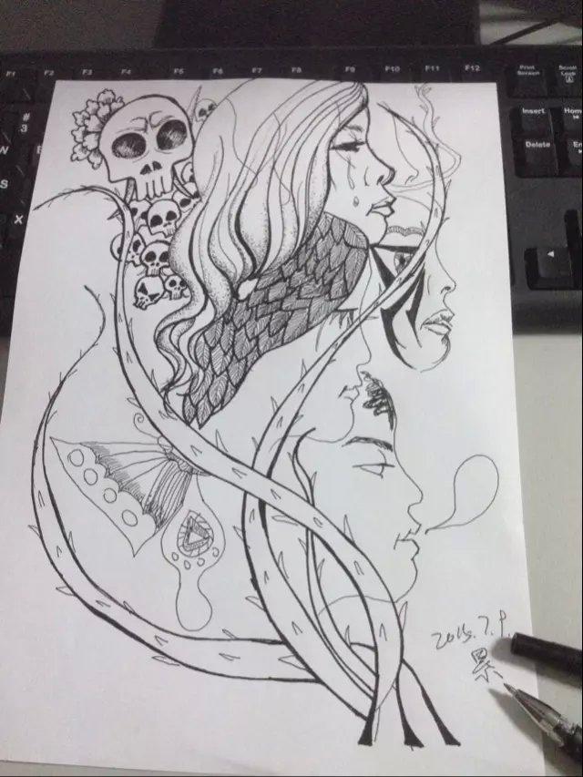 水性笔手绘