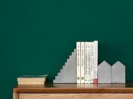 尘市集|水泥楼梯桌面摆件混凝土真实质感书立微缩建筑