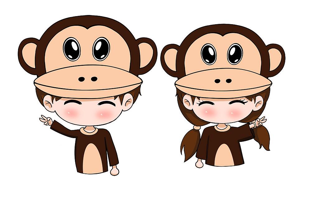 以可爱猴子为素材,手绘的卡通情侣.