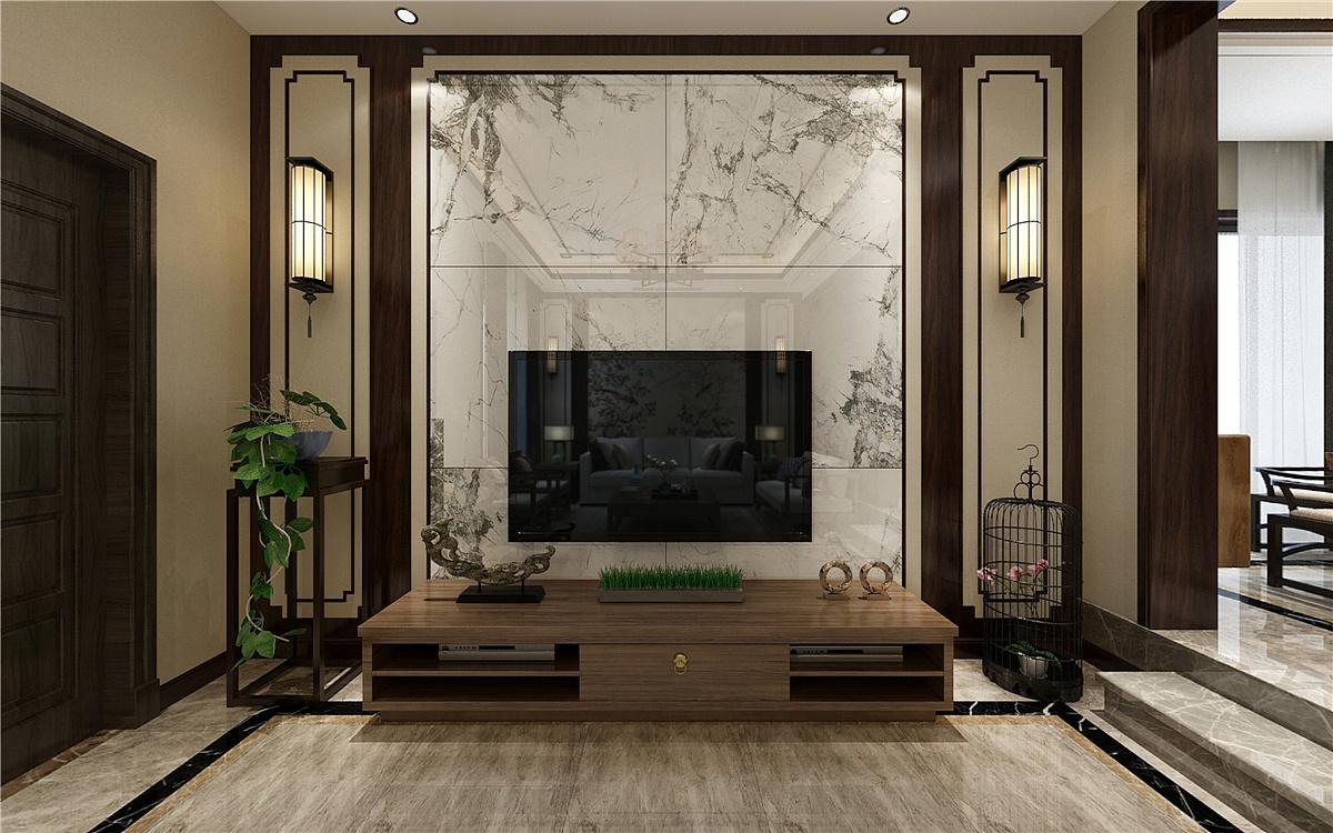 龙湖听蓝湾别墅 新中式风格 全案设计 客厅电视墙设计图片