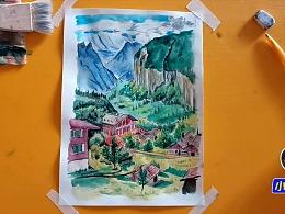 水彩画高山峡谷小村落