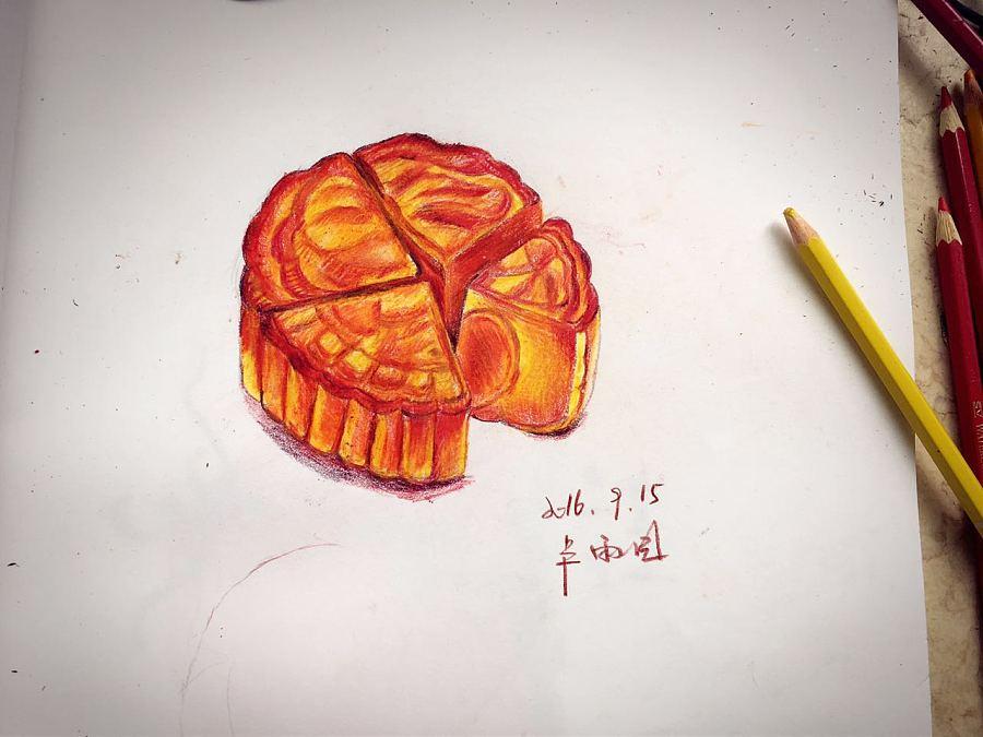 手绘彩铅月饼
