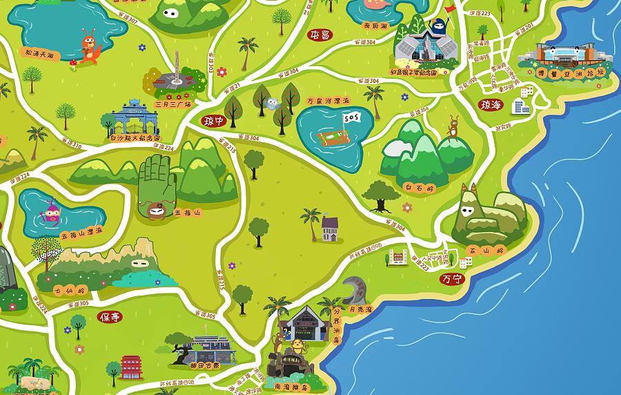 海南手绘地图|商业插画|插画|海南艺绘