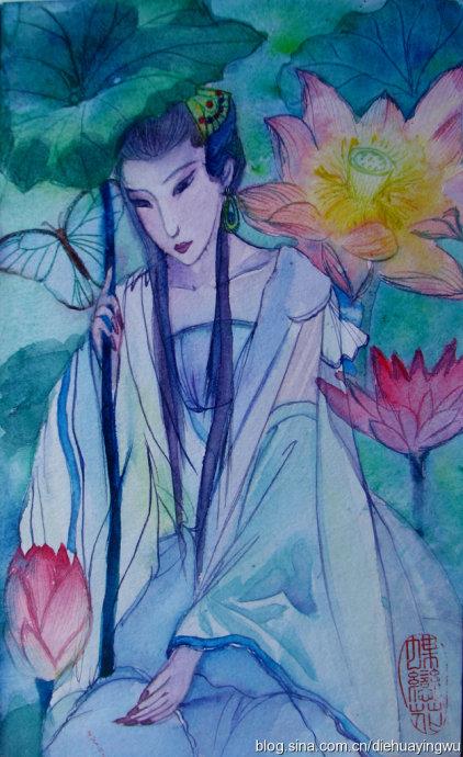 水彩  仕女画 手绘