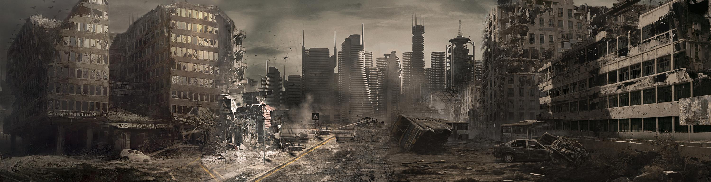 战争废墟海报合成教程