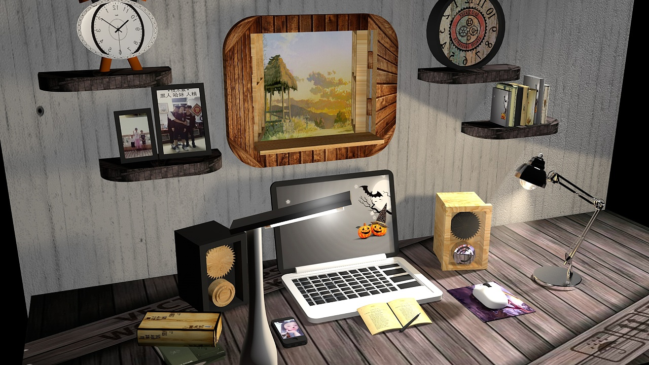电脑桌|三维|场景|阿阿阿俞 - 原创作品 - 站酷