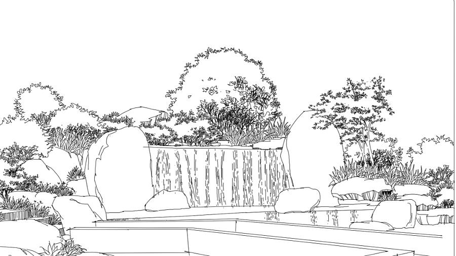 景观小场景线稿|园林景观/规划|空间/建筑|xiao伟